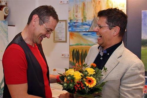 Dieter Poindl - Ehrenwerter Besuch des Herrn Bürgermeister beim Künstler